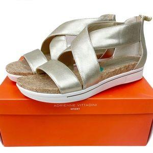 Adrienne Vittani Claude Gold Metallic Sandals 8